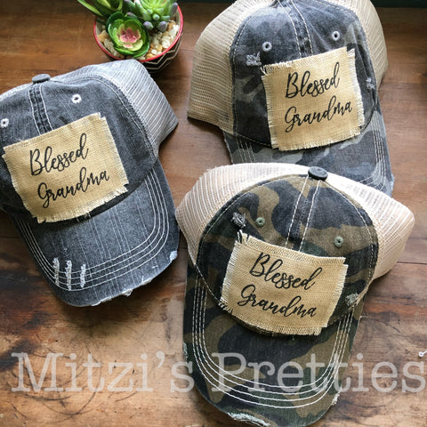 """BLESSED GRANDMA"" Patched Camo Trucker Hat"