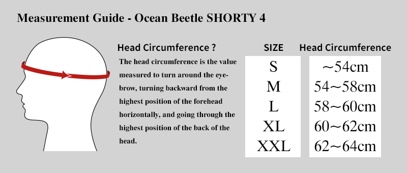 Measurement guide ocean beetle shorty 4