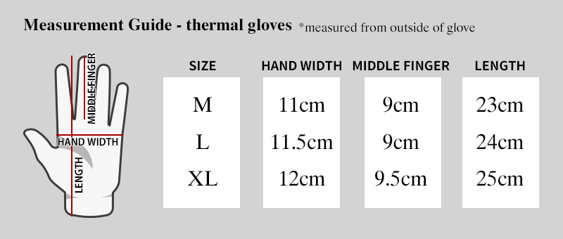 measurement guide thermal gloves