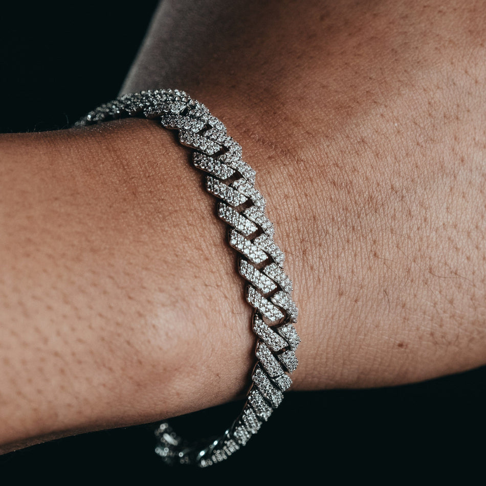 10mm Flooded White Gold Cuban Bracelet