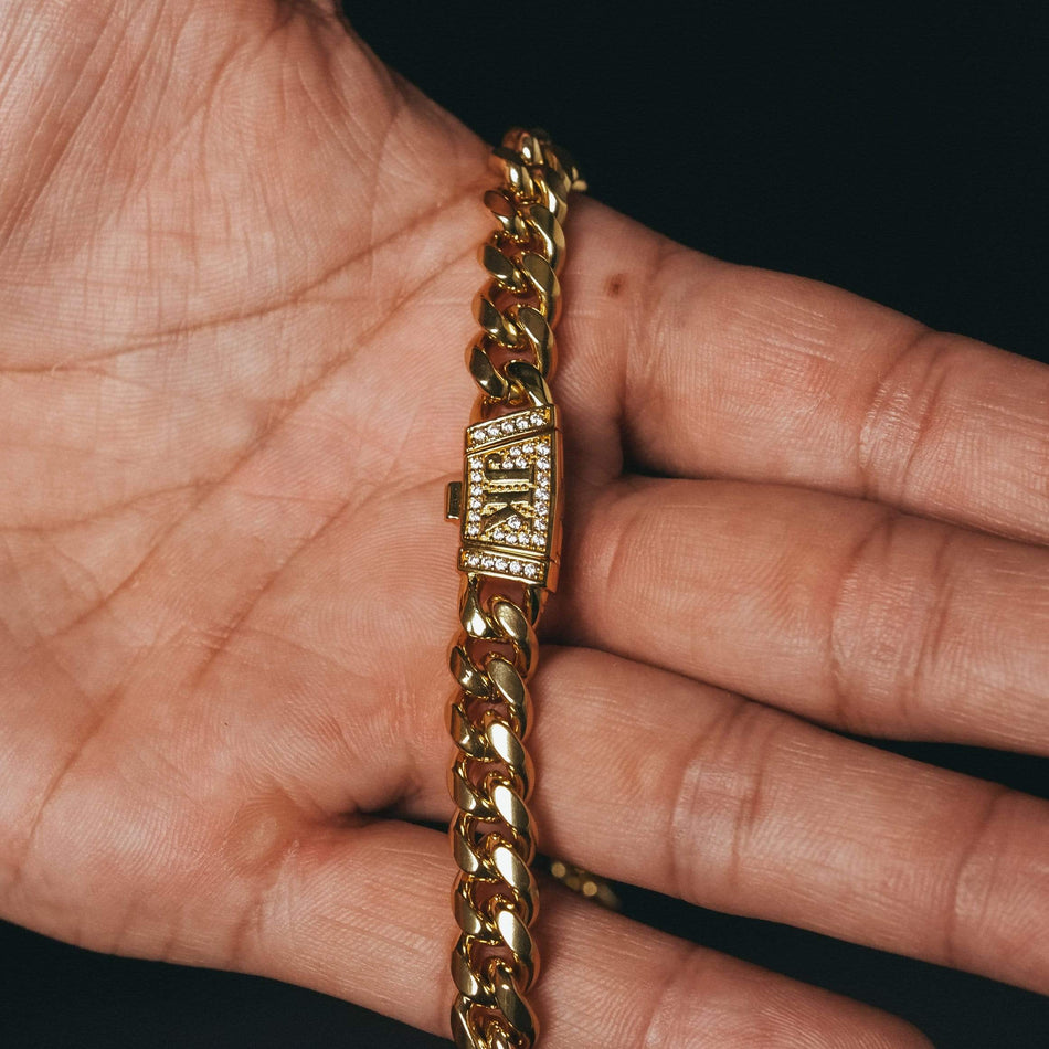 10mm Premium CZ Clasp Gold Cuban Chain