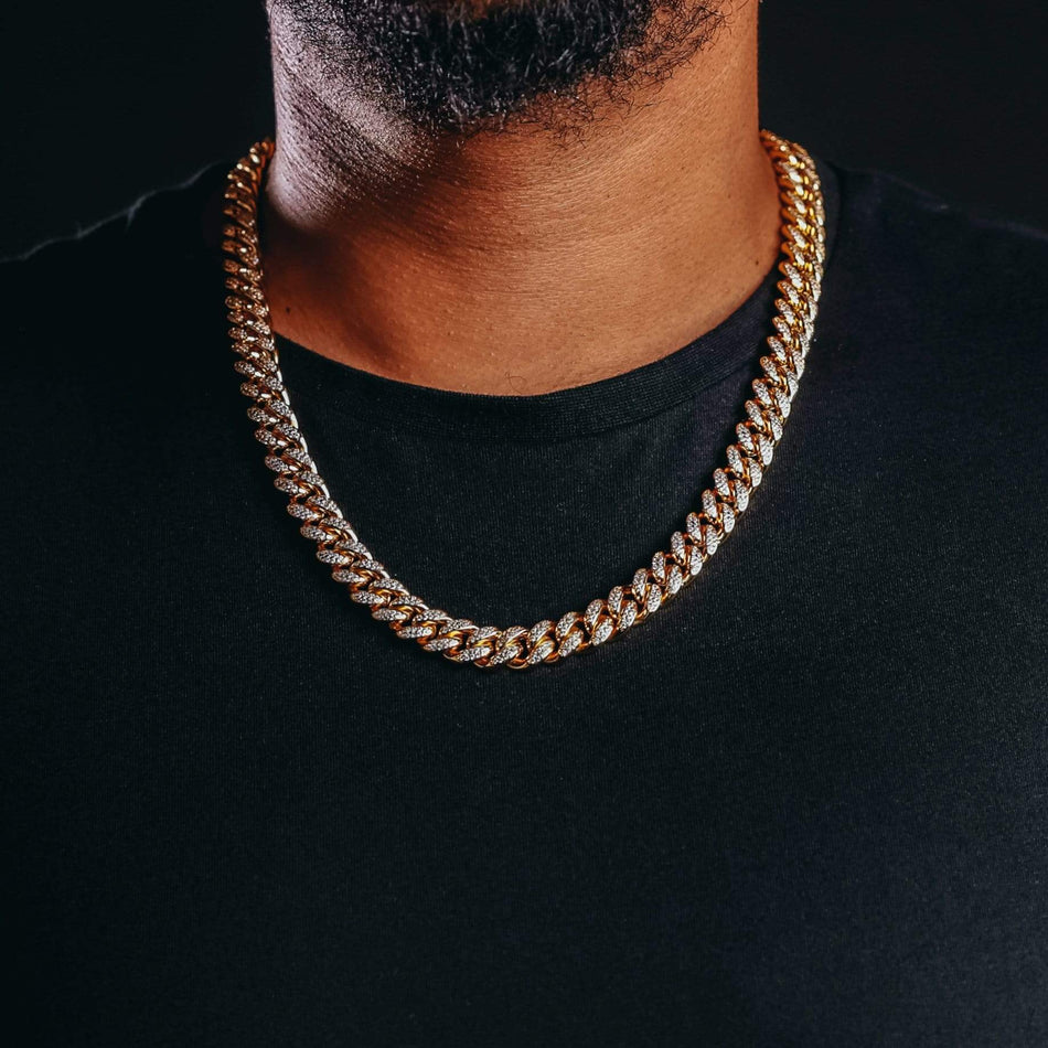 12MM Premium Iced Out Gold Miami Cuban Chain
