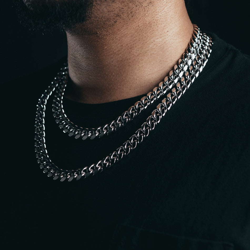 12mm Premium White Gold Miami Cuban Chain