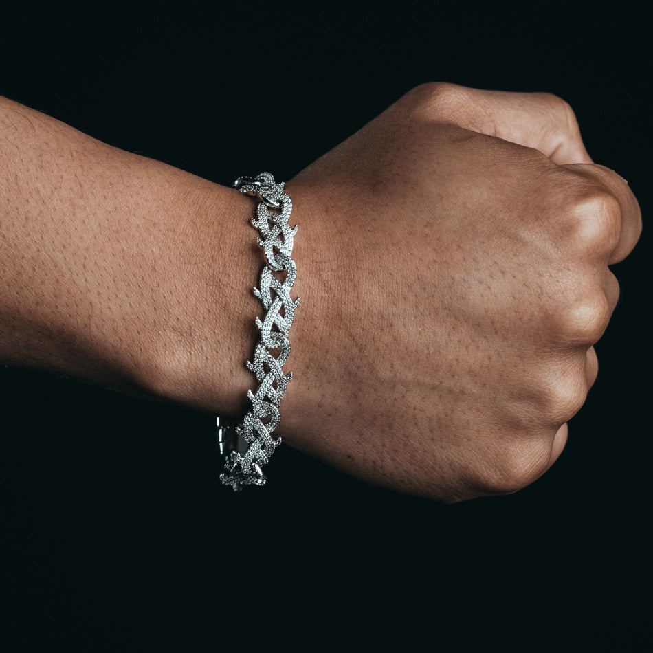 12mm White Gold Thorn Bracelet
