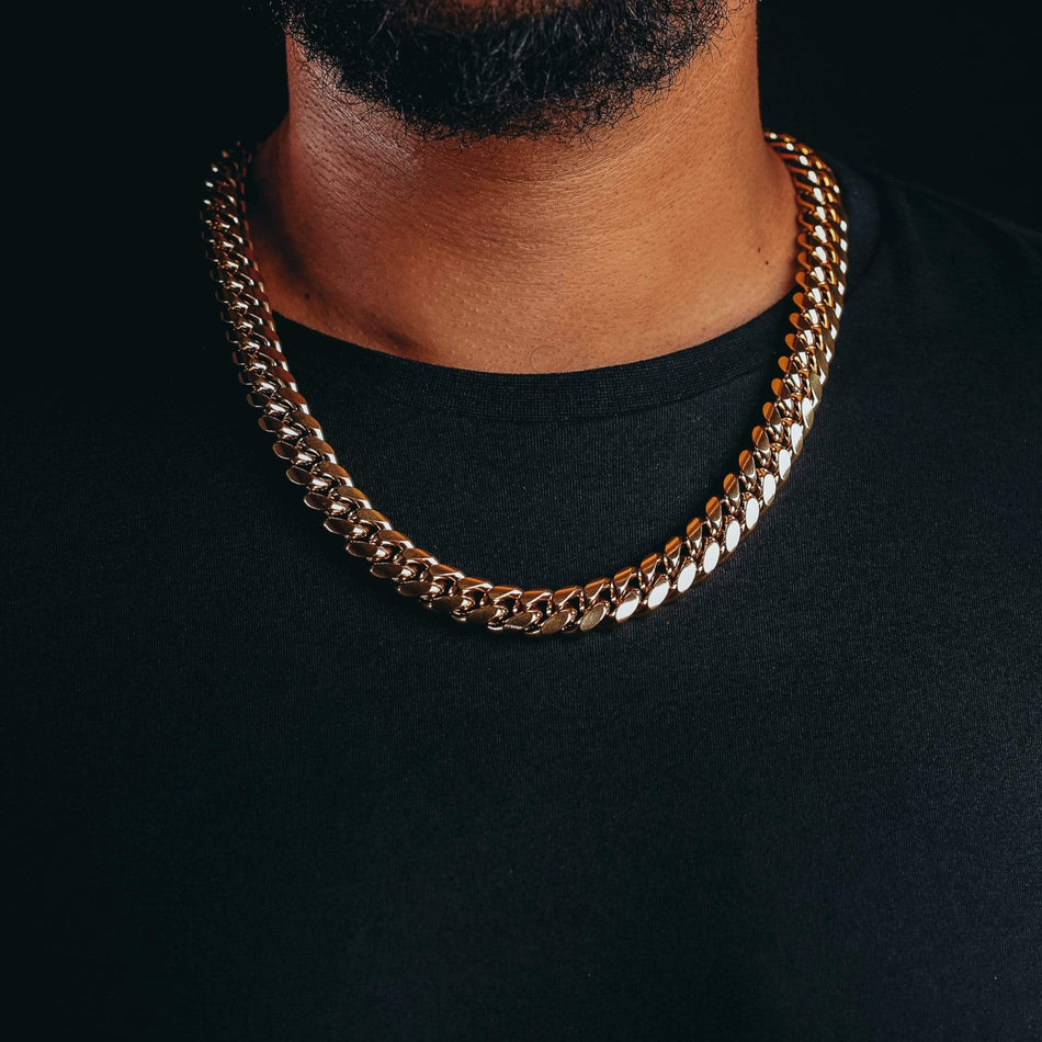 14mm Premium Gold Miami Cuban Chain