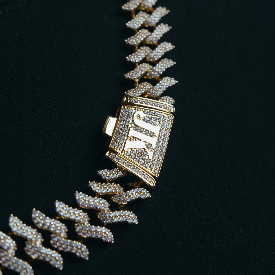 15mm Spiked Gold Cuban Chain