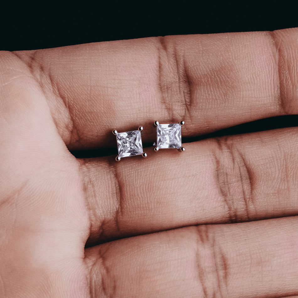 White Gold Finish Princess Cut Cz Studs
