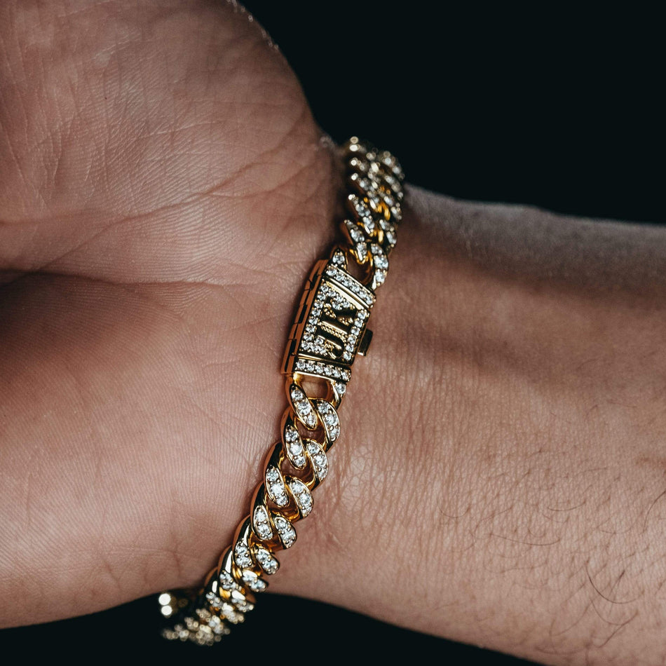 8MM Premium Iced Out Gold Miami Cuban Bracelet