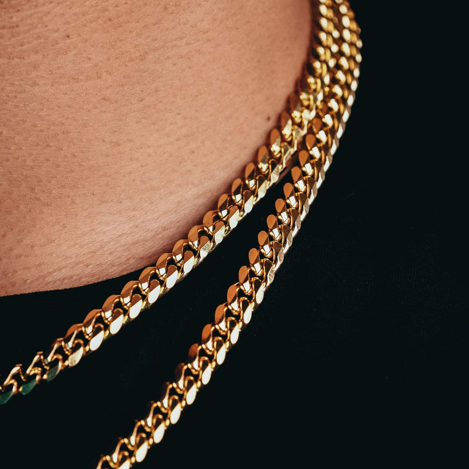 8mm Gold Curb Link Chain