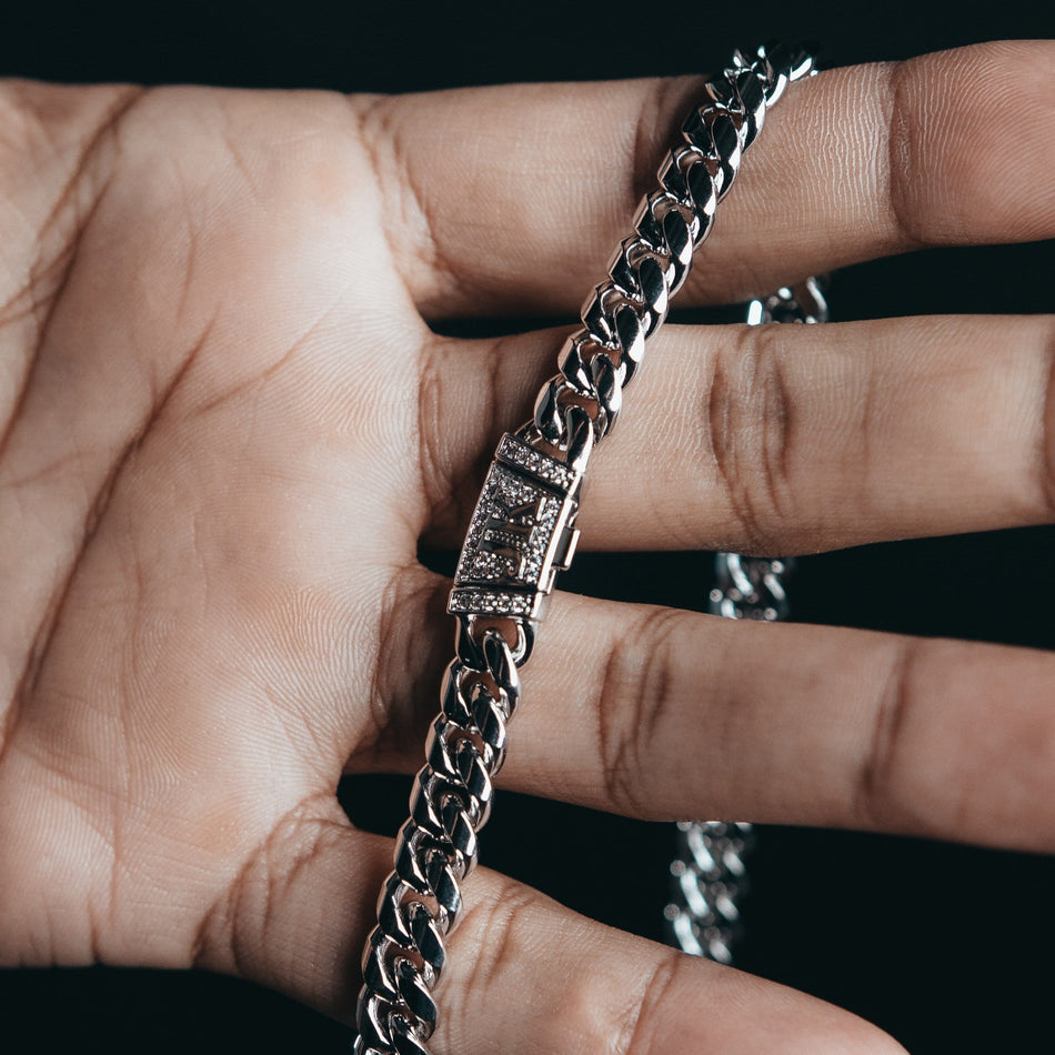 8mm Premium White Gold Miami Cuban Chain