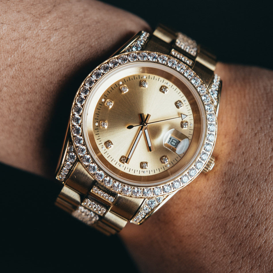 All Gold CZ Crown Watch