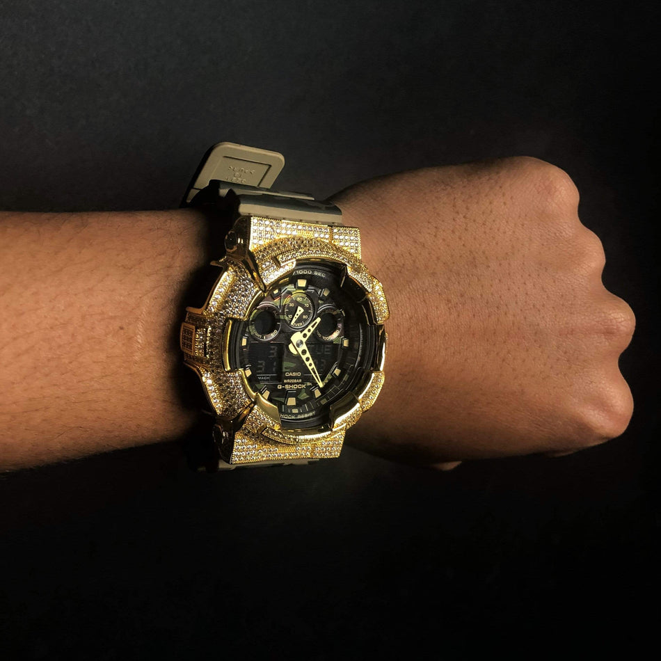 Gold Iced Out G Shock GA-100CM Watch