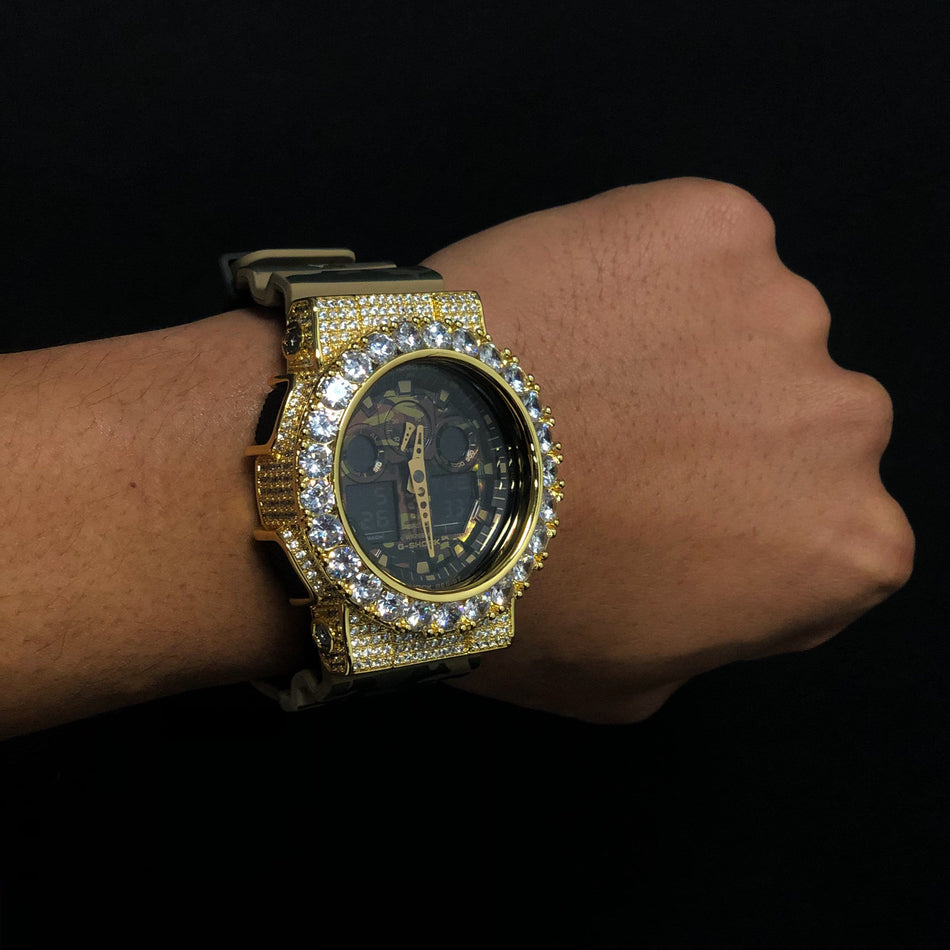 Custom Gold Iced Out GA-100CM Watch