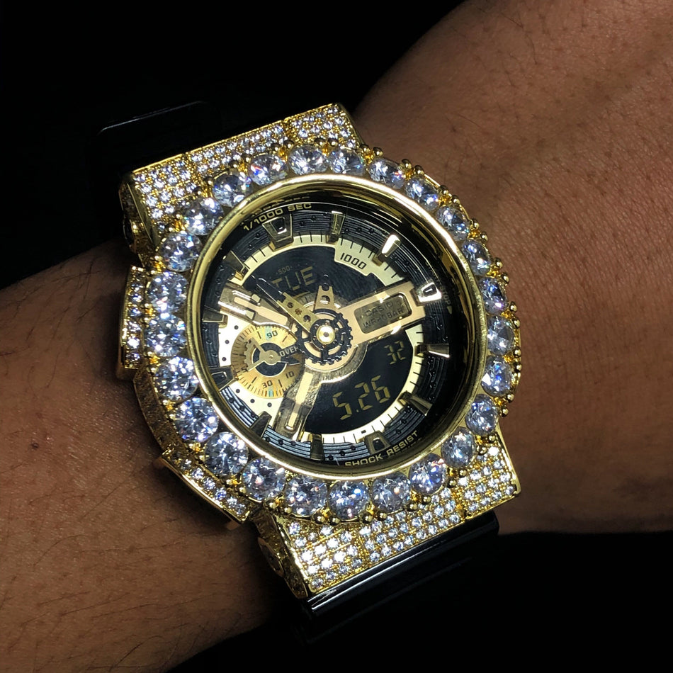Custom Gold Iced Out GA-110GB Watch