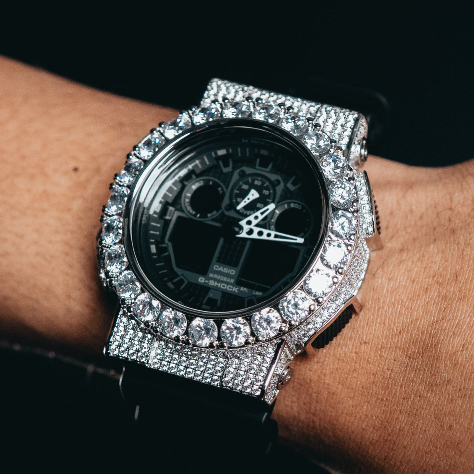 Custom White Gold Iced Out GA-100 Watch