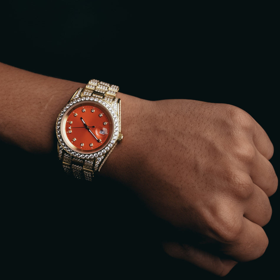 Gold CZ Imperial Crown (Red Dial) Watch