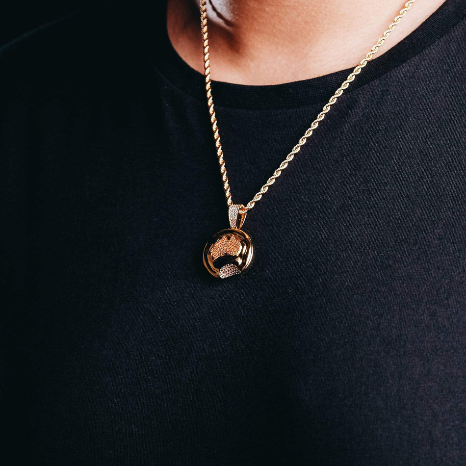 Gold Aussie Meat Pie Pendant (With CZs)