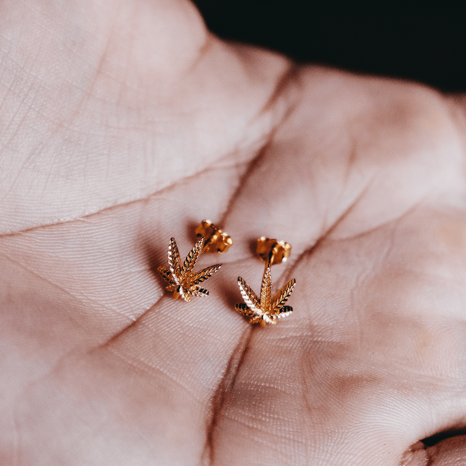 Gold Weed Leaf Earrings
