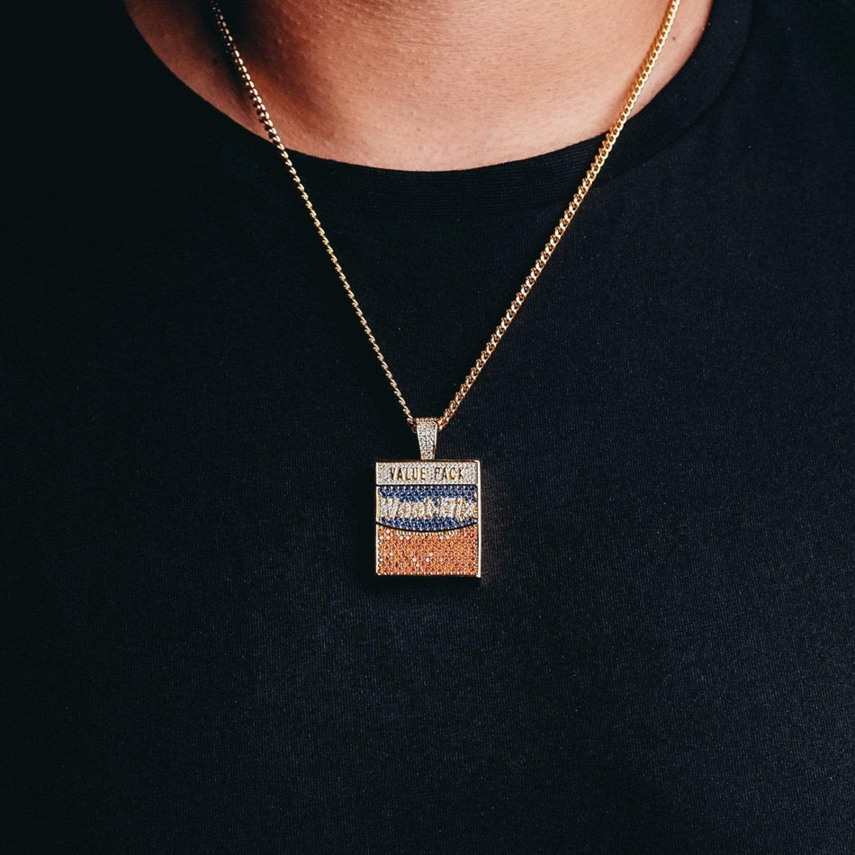 Gold Weet B's Box Pendant (with CZs)