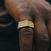 Gold CZ Hex Nut Ring