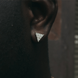 Gold Cz Triangle Earrings