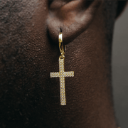 Gold CZ Cross Drop Earrings