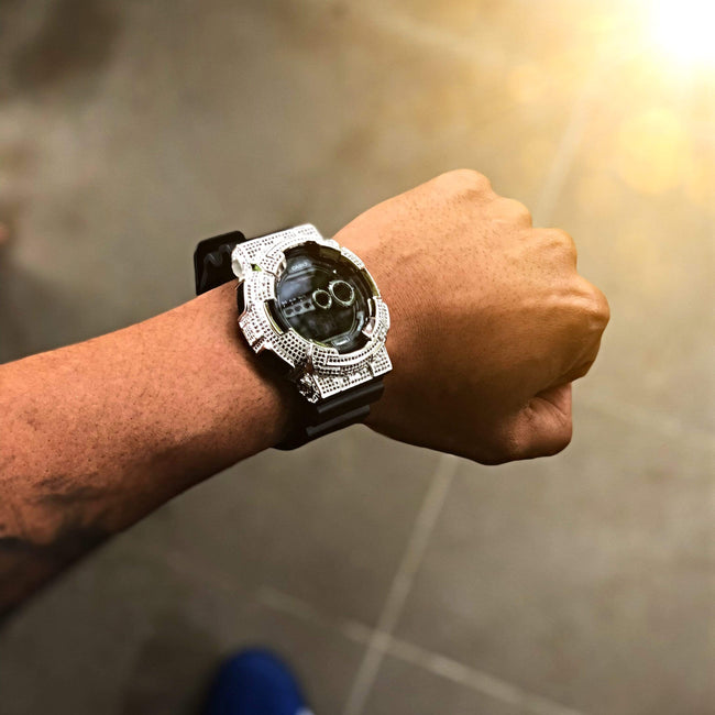 White Gold Iced Out G Shock GD-100