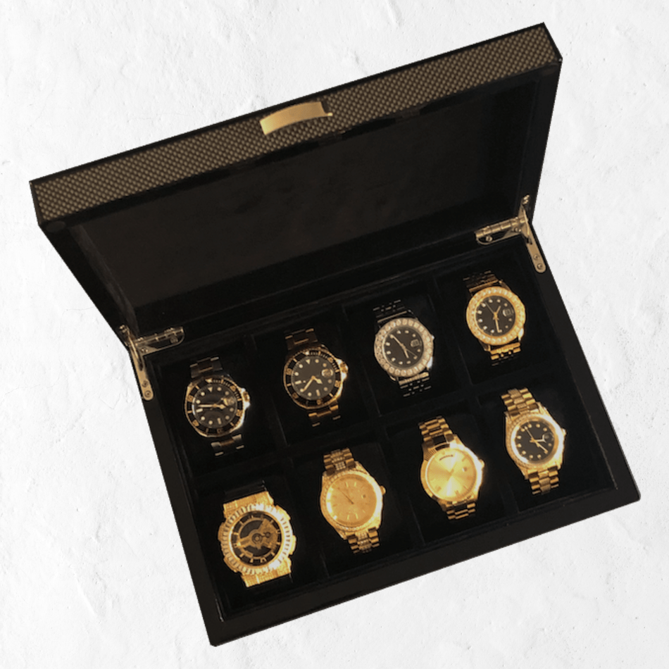 Carbon Fibre Finish 8 Slot Watch Case