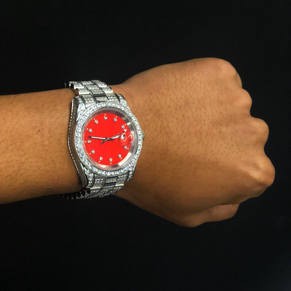 CZ Imperial Crown Watch (Red Dial)