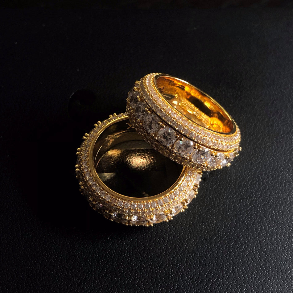 Gold CZ Band Spinner Ring