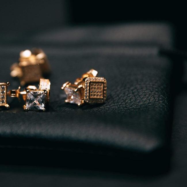 18K Gold Finish Square Micropave Cz Earrings