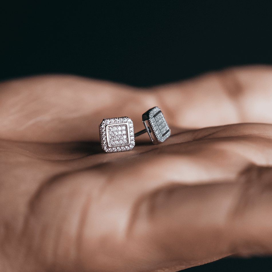 White Gold Finish Square Micropave Cz Earrings