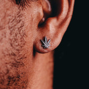 White Gold Weed Leaf Earrings