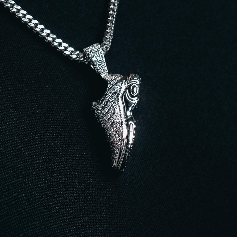 White Gold TN Shoe Pendant