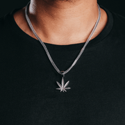 White Gold Weed Leaf Pendant