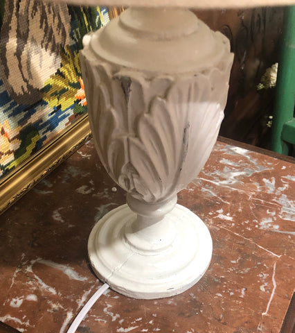 French antique lamp base with linen shade, rewired