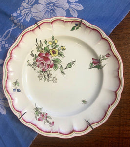 French vintage hand painted collectable plate , Luneville