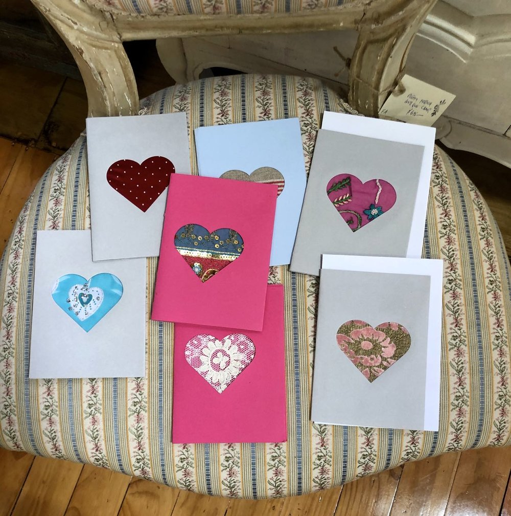 vintage material heart cards