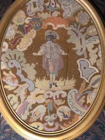 Fa2473 Large framed French antique oval tapestry