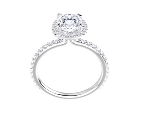 14k White Gold, 1.08ct Cushion Cut, VVS2, E Color size 7 Engagement Ring