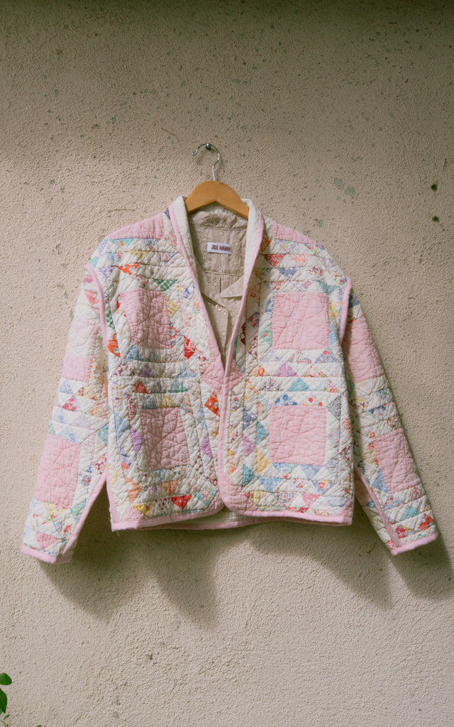 Soft Pink Patchwork Juniper Cropped Coat - Small