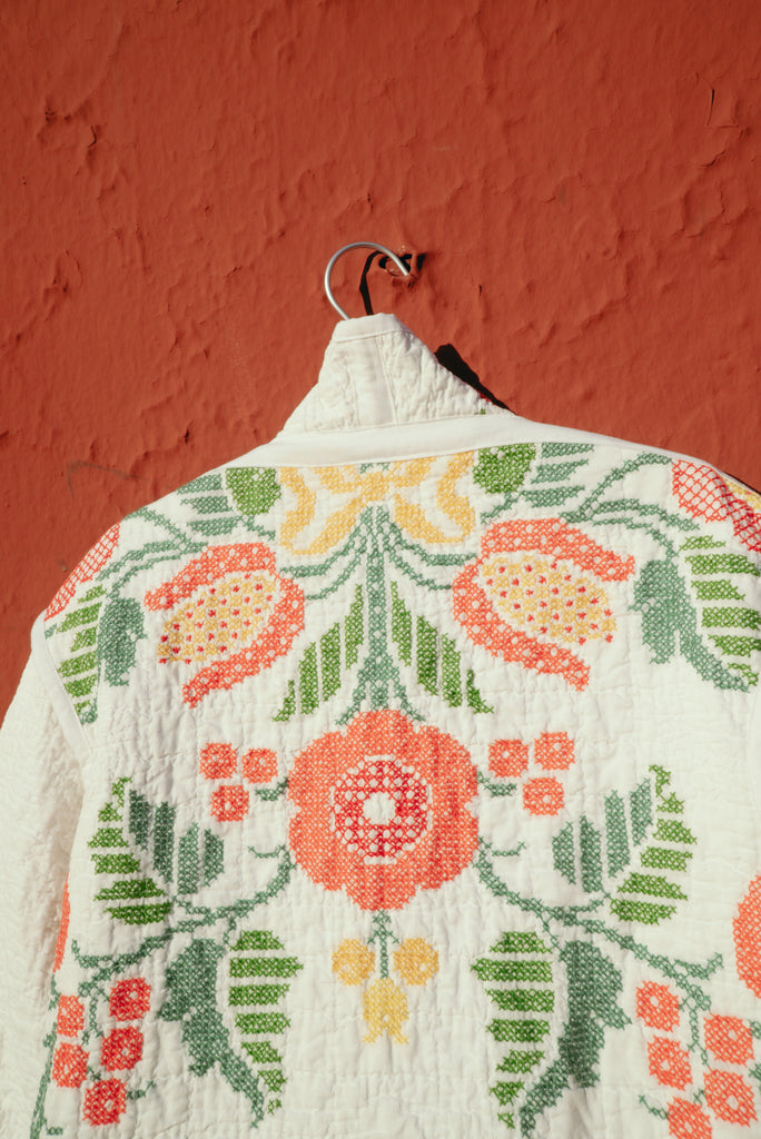 Wild Berries Jess Meany Custom Vintage Quilt Coat Repurposed Slow Fashion Sustainable