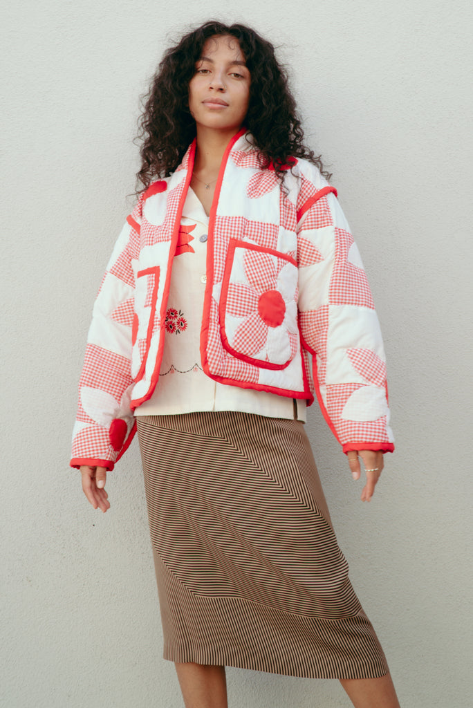 Red & White Daisy Juniper Cropped Coat
