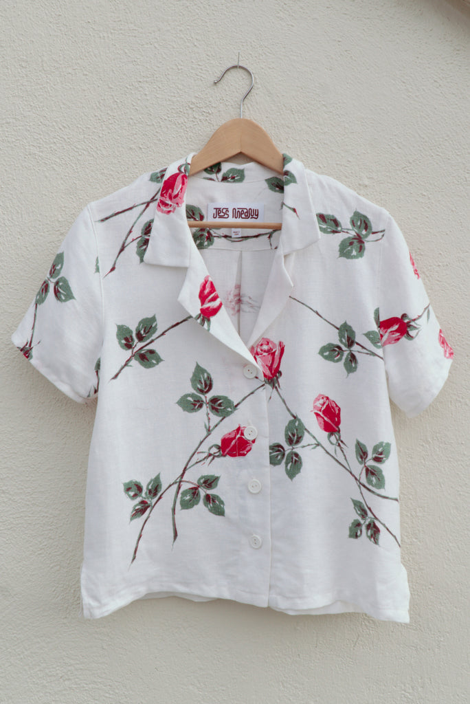 Rose Linen Laguna Lounge Shirt - Medium