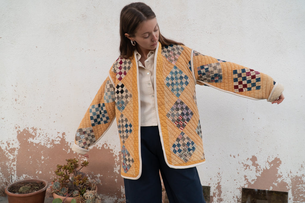 Mustard Mosaic Kalina Cocoon Coat - Medium