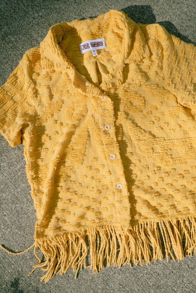Mustard Chenille Laguna Lounge Shirt - Medium