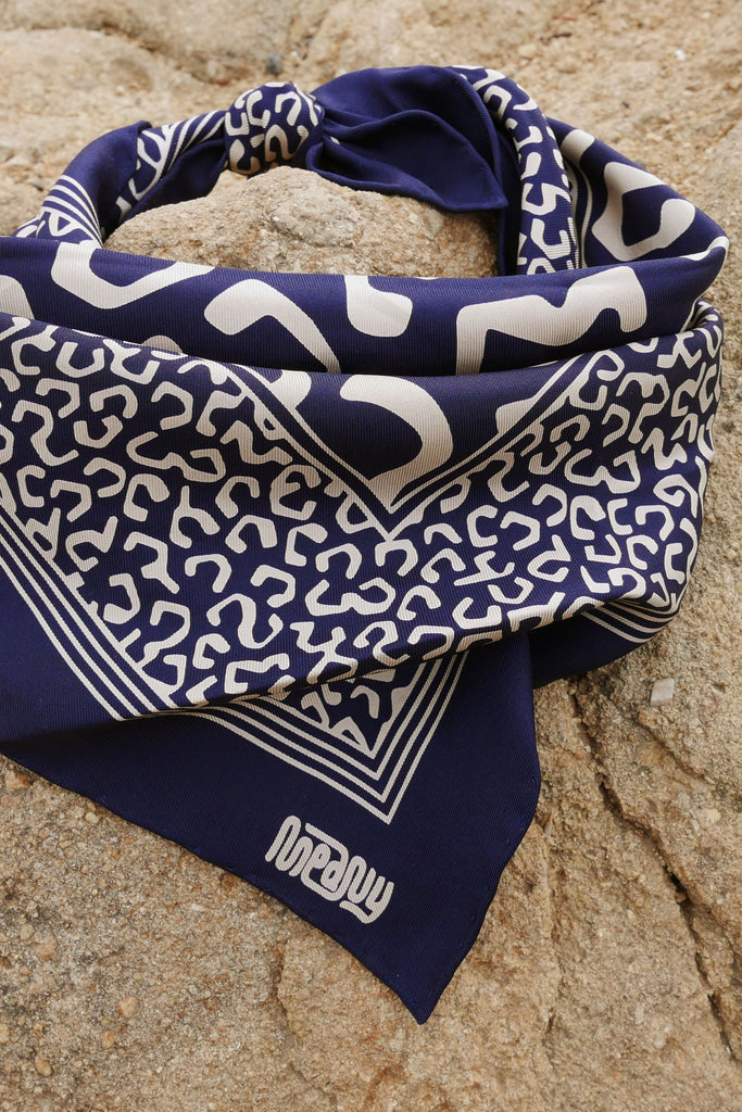 Navy Silk Family Bandana