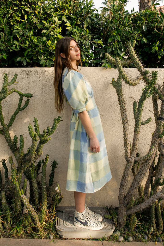 Pastel Blue Pull-Over Saguaro Dress - Small