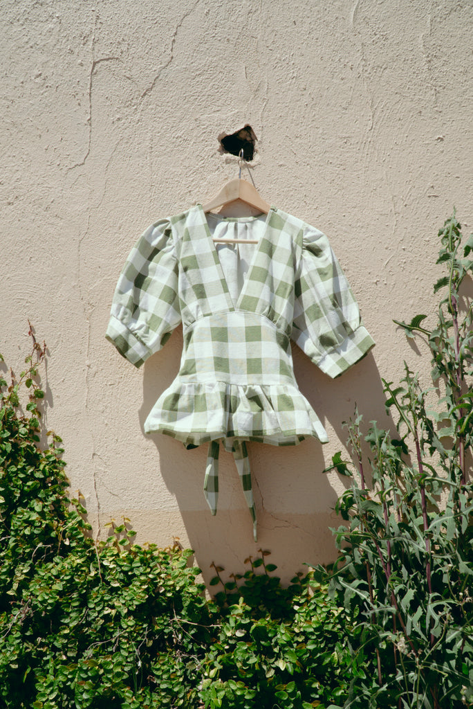 Green Checks Peplum Saguaro Top - Small