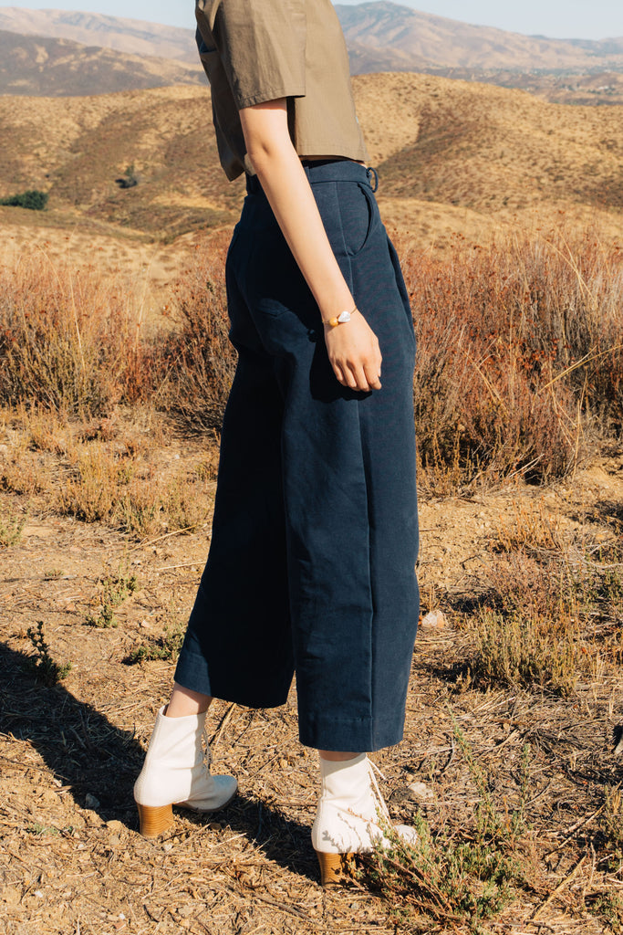 Stonewash Navy Dani Pleated Pant